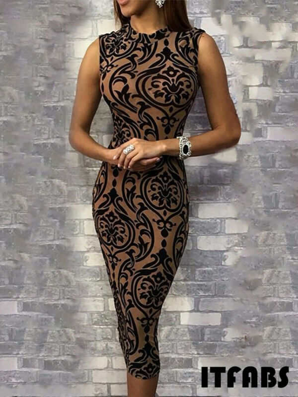 Women Summer Sexy Dress Bodycon Sleeveless O Neck Pencil Skinny Pattern Print Evening Party Club Mid Women Summer Sexy Dress Bodycon Sleeveless O-Neck Pencil Skinny Pattern Print Evening Party Club Mid Calf Dress