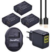 3 Pcs DuraPro 1400mAh DMW BLC12 DMW BLC12E BLC12 Battery USB Dual Charger For Panasonic FZ1000