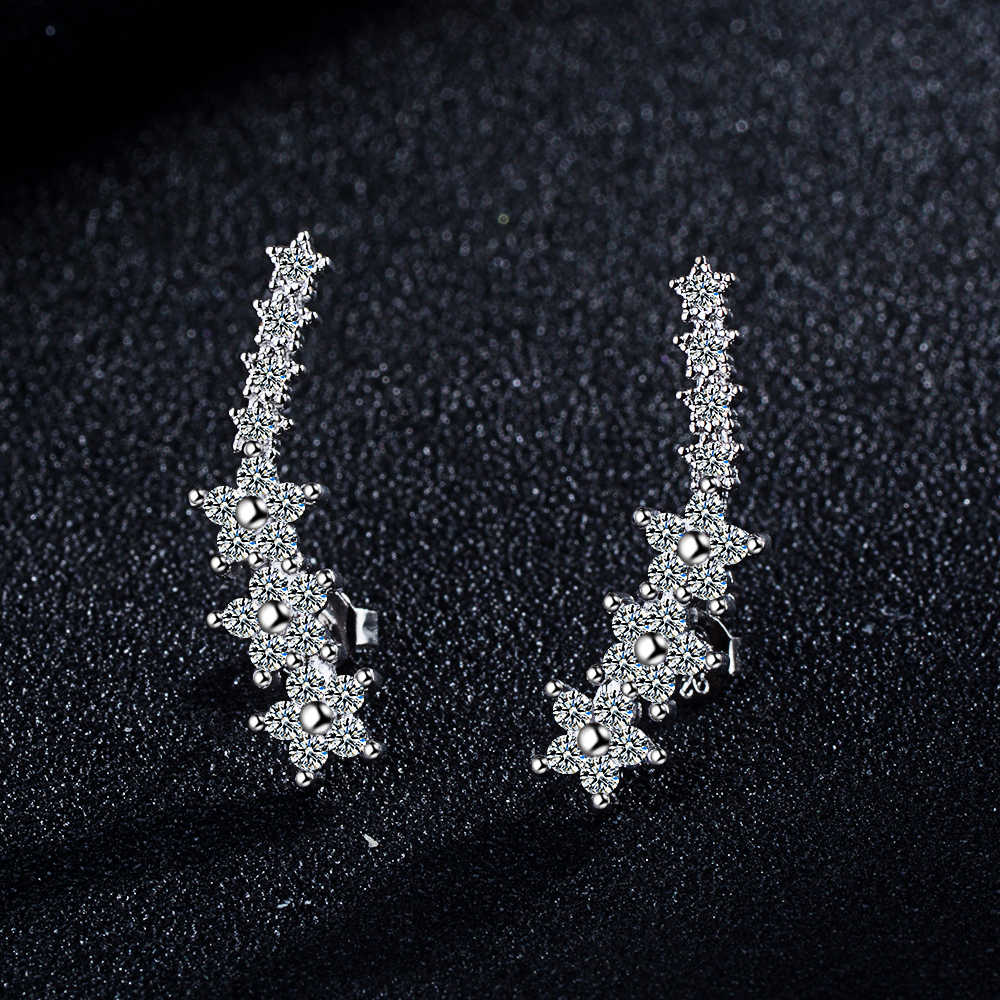 Todorova New Luxury Cubic Zircon Star Ear Crawlers Earrings for Women White Crystal Ear Climbers Earrings Party Accessories