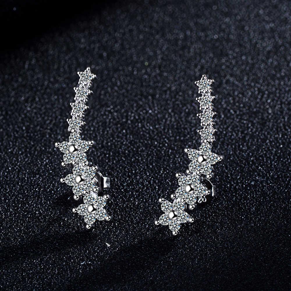 Todorova novo luxo zircon cúbico estrela orelha crawlers brincos para as mulheres branco cristal orelha alpinistas brincos acessórios de festa