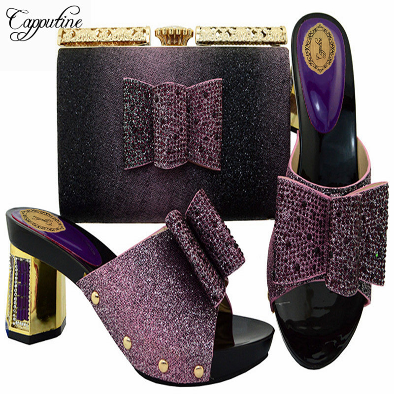 Capputine New Arrival Black Color Ladies Shoes And Bags To Match Set Italian Design Woman Shoes And Purse Set For Dress BL004 цена