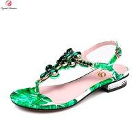 Original Intention Fashion Women Sandals Nice Rhinetsone Open Toe Square Heels Sandals Elegant Green Shoes Woman