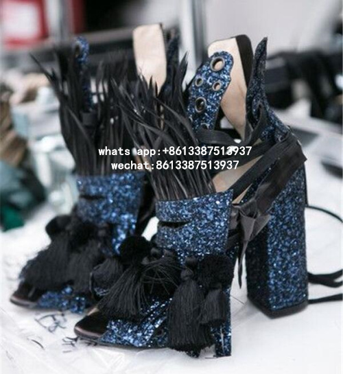 2017 New Arrival Spring Autumn Lace-Up Tassel Women Sandals Bling Peep Toe High Heels Shoes Street Style Ankle Strap Women Shoes new arrival lace up women sexy peep toe sandals cross tied slingback gladiator heel shoes street style ankle boots women shoes