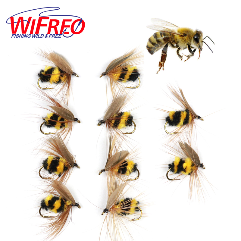 Wifreo 10pcs #10 Artificial Insect Bait Bumble Bee Fly Trout Fishing Lures wifreo 10pcs 10 black zebra mosquito fly trout fishing dry flies fly fishing bait lures
