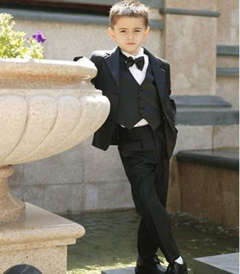2018 Black Boy Suits Two On Tuxedos Notched Lapel Children Suit Kids Wedding Prom Jacket Pants Vest Bow Tie In From Men S Clothing