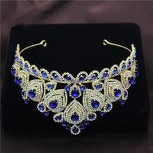 Corona de la tiara del desfile diademas ornamentales estilo de pelo novia boda Tiaras tocado coronas de graduación accesorios de joyas para el pelo