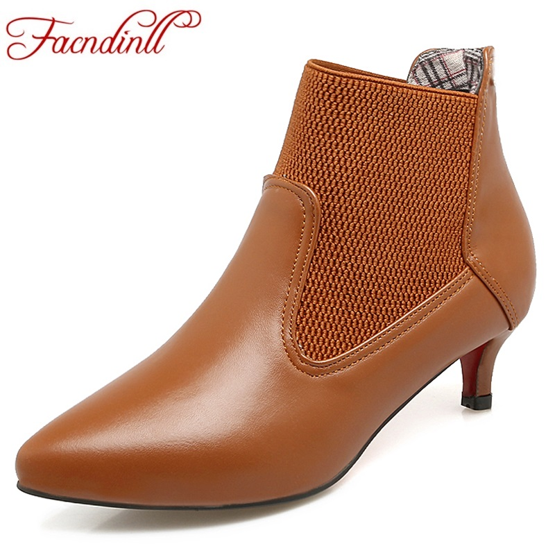 FACNDINLL autumn shoes women fashion ankle boots brand shoes sexy high heels pointed toe slip-on woman dress casual short boots