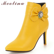 все цены на Meotina Fall Ankle Boots Women Crystal Thin High Heel Short Boots Bow Zipper Pointed Toe Shoes Lady Winter White Plus Size 33-46 онлайн