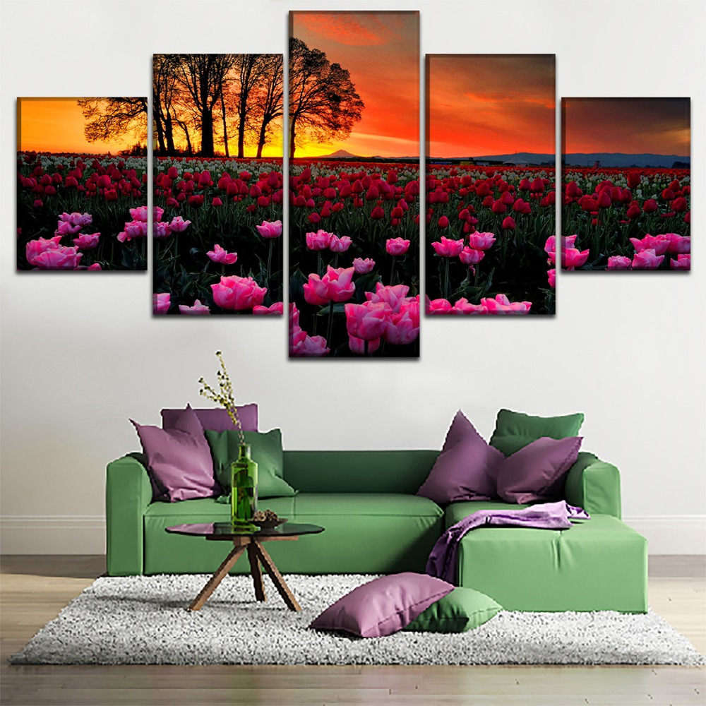 Wall Art Home Decor Framework Canvas 5 Pieces Sunset Landscape Picture And Flower Field Poster For Living Room HD Print Painting
