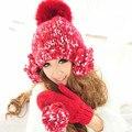 Ручной Шапочка и Перчатки Милые Девушки Женщин Зима Теплая Вязаная Шапка Шапки