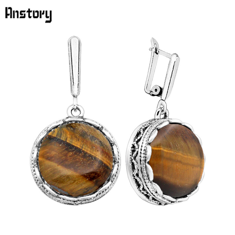 Round Natural Tigers Eye Earrings Antique Silver Plated Vintage Look Earrings Fashion Jewelry TE178