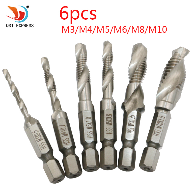 6pcs/set Hand Tap Drill Hex Shank HSS Screw Spiral Point Thread Metric Plug Drill Bits M3 M4 M5 M6 M8 M10 Hand Tools 13pcs lot hss high speed steel drill bit set 1 4 hex shank 1 5 6 5mm free shipping hss twist drill bits set for power tools