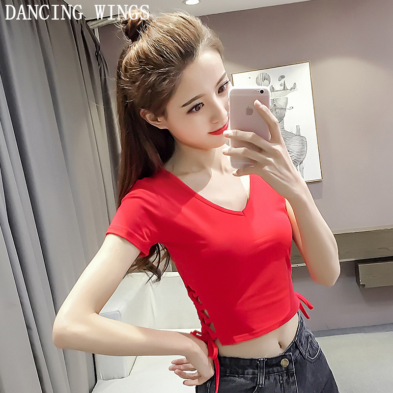 2018 New Womens T-shirt V Neck Leak Navel Sexy Crop Tops Fashion Short Sleeve Summer Casual Solid Short T Shirts 4Colors