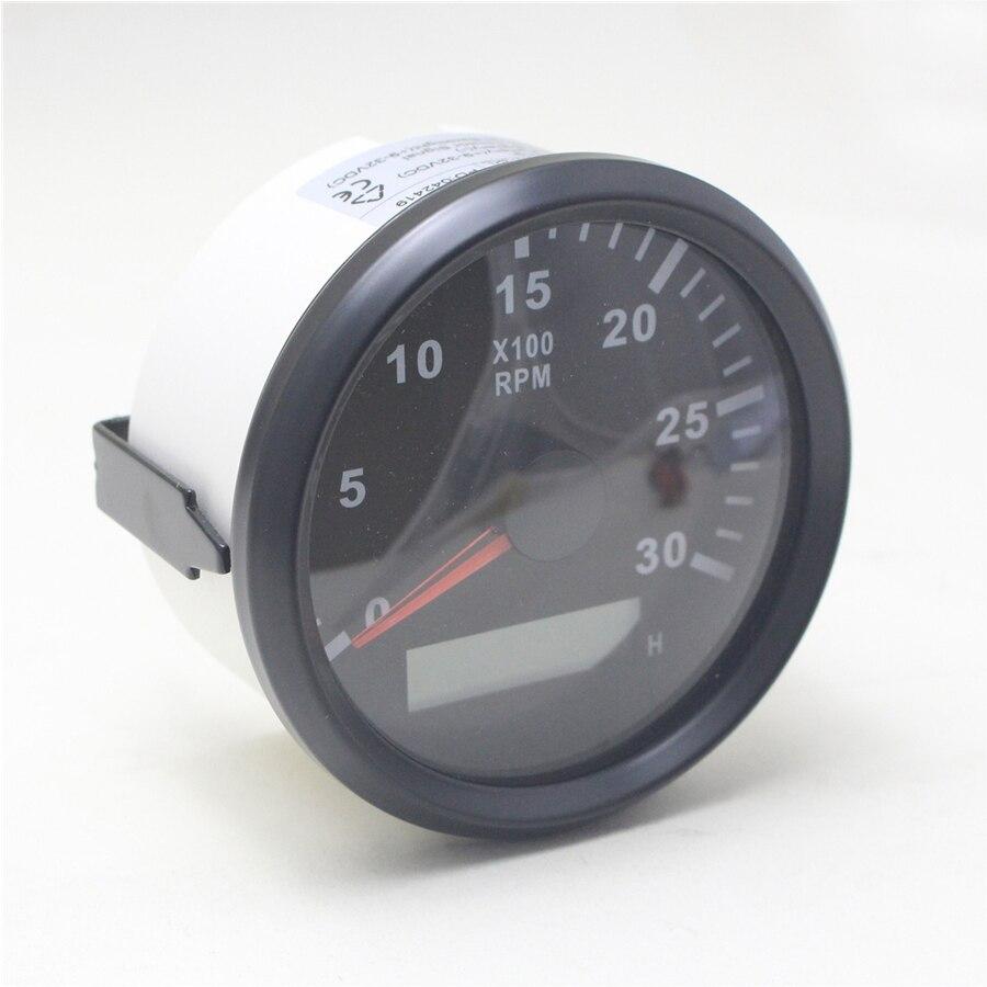 Tachymètre d'affichage à cristaux liquides de voiture de 85mm 3000 tr/min avec le sablier pour le compteur de Tacho de moteur Diesel de bateau de camion