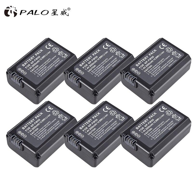 PALO 6 pcs NP-FW50 Caméra Batterie NPFW50 NP FW50 pour SONY A5000 A5100 A7R NEX5 5R 5N A6000 A7 NEX6 NEX7 NEX5R NEX5N