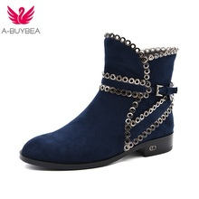 ФОТО 2017 new fashion high quality ladies ankle boots hot-sell shoes woman comfort winter blue flat warm square heel snow boots
