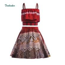 Princess Girls Moana Costume Skirt Set For Toddler Kids Party Dress Up Off Shoulder Evening Dresses 2018 New Summer