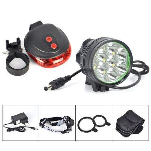 10000LM 7x XM-L T6 LED Head Front Laser Rear Bicycle Light Bike Lamp 12000mAh+CH