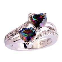 Rainbow Mystic Crystal Zircon Rings for Wome Size 5 6 7 8 9 10 11 12 13  Fashion Wholesale R004