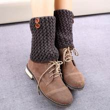 1 Pair Knitted Hollow Out Twill Leg Warmers Socks Boot Cover Acrylic Fibers women's ankle or knee high leg warmer sports socks(China)