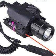 2en1 Tactical CREE LED Flashlight/LUZ + Láser Rojo/Sight Combo para Escopeta Glock 17 19 22 20 23 31 37