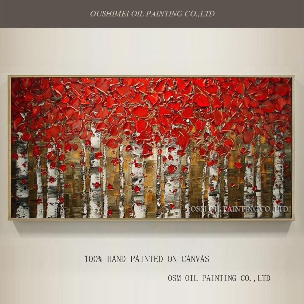 Vynikající umělec ručně malované vysoce kvalitní abstraktní bříza olejomalba na plátně nůž lesní krajina plátno na zeď
