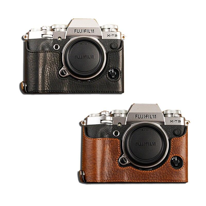 AYdgcam Genuine Leather Camera case Half Bag Bodysuit For Fujifilm XT3 XT3 Fuji X T3 Handmade