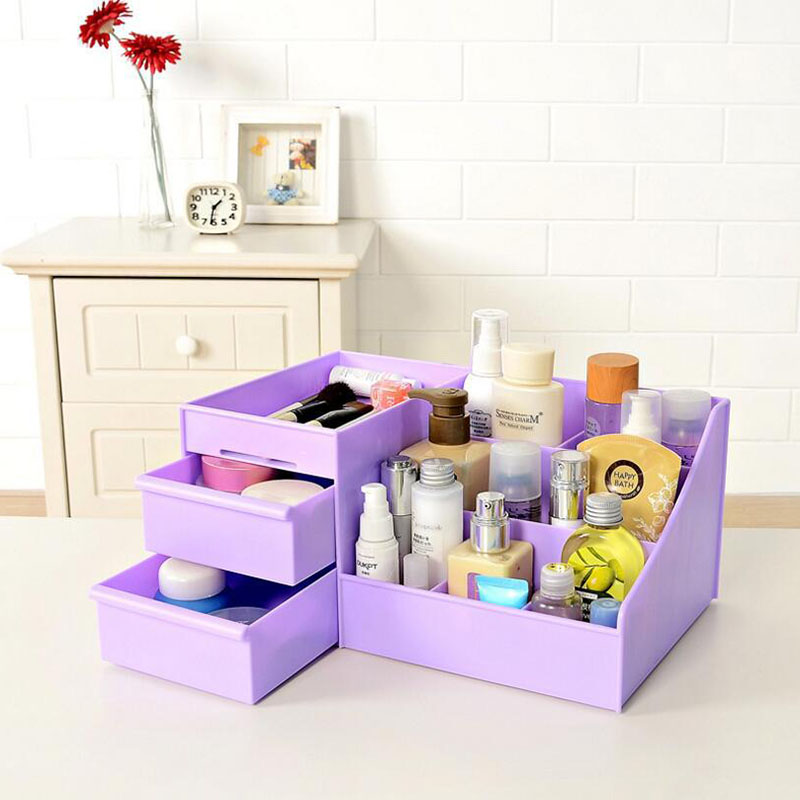 Image 3 - 2019 New Plastic Makeup Organizer Make Up Brush Storage Box with Drawer Cotton Swabs Stick Maker Storage Case Hot Sale-in Makeup Organizers from Home & Garden