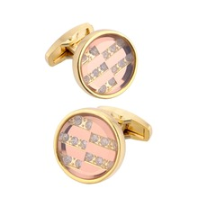 QiQiWu Round Cufflinks For Mens Shirt Wedding High Quality Gold Cuff links Men Shirts Cufflink Men Luxury Mens Cufflinks Cuff dy new high end cufflinks luxury design silver fashion men s shirts cuff button round trendy purple crystal cufflinks whlesale