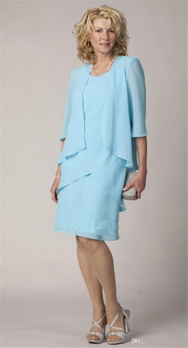 High Quality Light Blue Chiffon Mother of the Bride Groom Dress ...