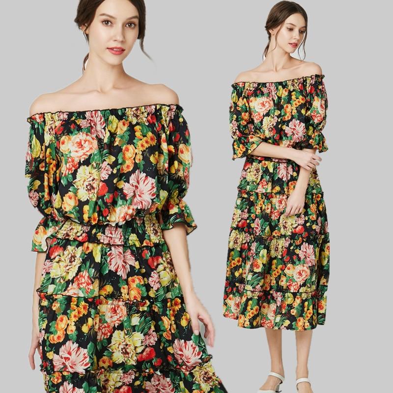 S-XL grande taille Slash cou été plage Robe 2019 lâche à manches courtes imprimé Floral Robe femmes grande balançoire Robe noire femmes Robe - 5