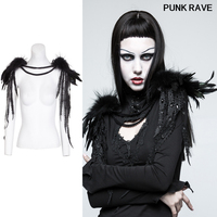 Classic Black sexy club Phoenix tail Knot Gothic Leather Pins Fish Mouth Clamp Feather Women Shoulder Knot PUNK RAVE S 220