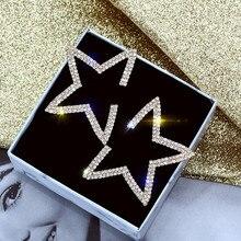 Korean Handmade Silver Needles Anti-allergy Star Rhinestone Drop Earrings Dangle Earrings Fashion Jewelry-BYD5 все цены
