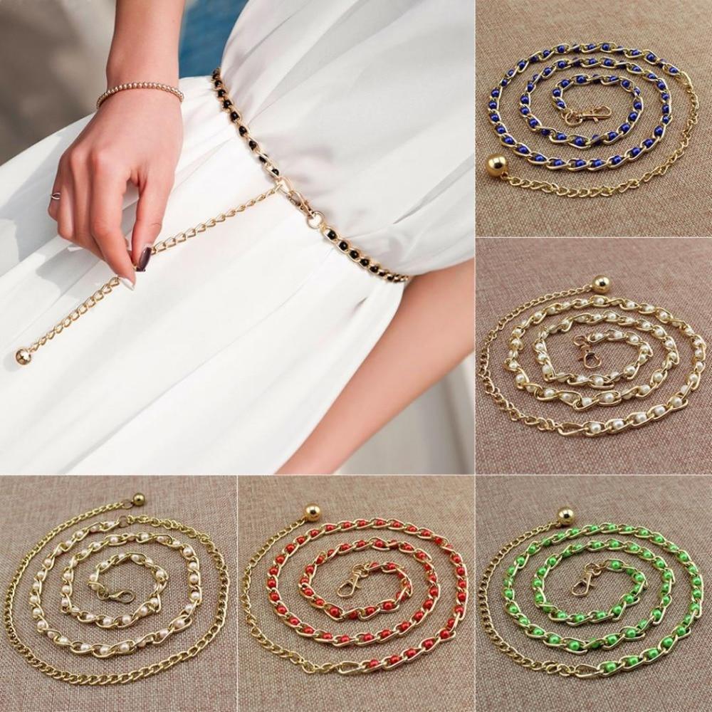 Fashion Sweety Pearl Bead Women Dress Belt Lady Winter Sweater Decoration Waist Belts Gold Chains Belt Bohemia Pearl Body Chain