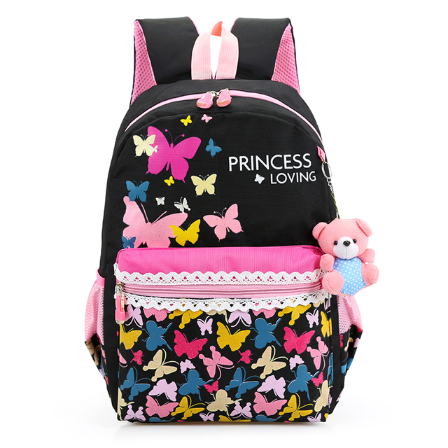 The butterfly printing large capacity canvas backpack Floral preppy style school bag for teenage girls cute leisure & travel bag