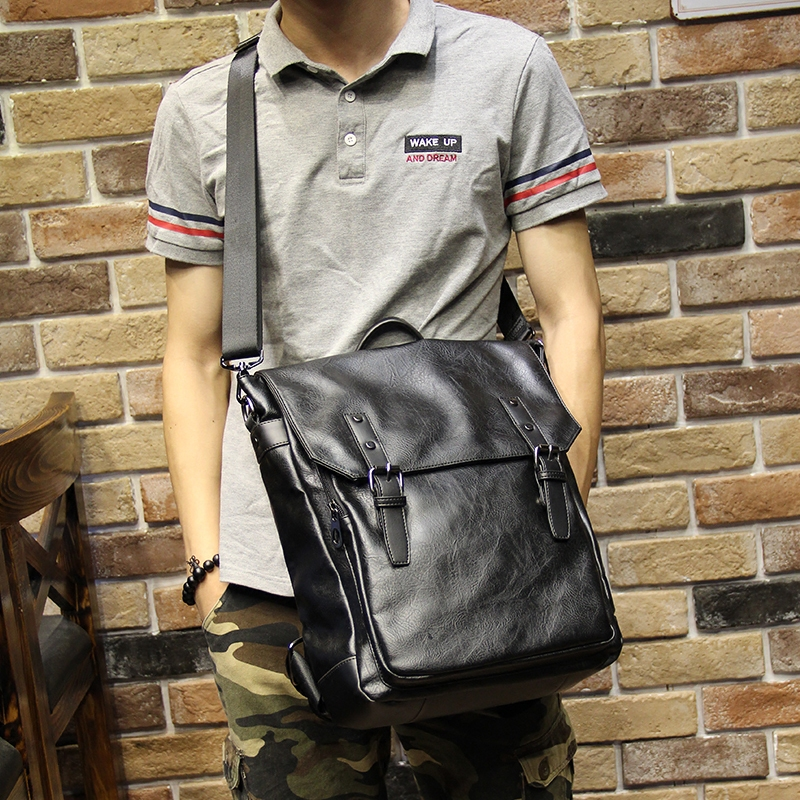 5ab91e2839 Crossbody BagsFashion Classic Cool Black Leather Men Backpack Promotion Solid  Black Mens Laptop Backpack Leather Backpack mochila. Sale. Previous