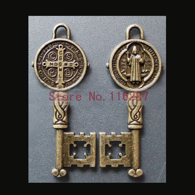 34c51f7bec4 Catholic Religious Gifts saints St St. Benedict holy key Medals Pendants  copper alloy plated two side