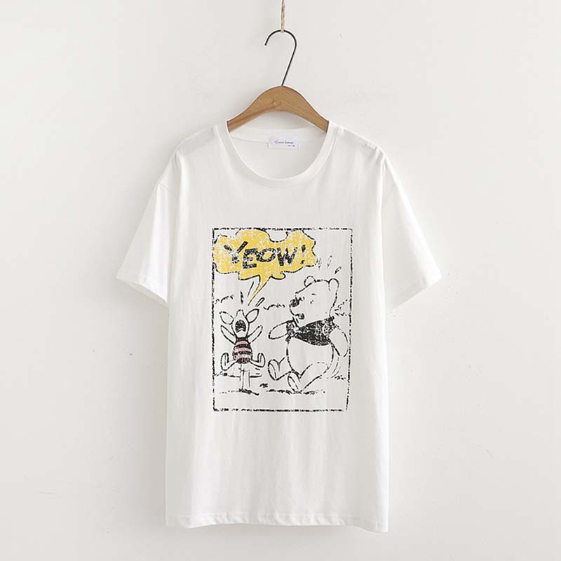 Korea Literary summer casual Top Round neck Winnie the Pooh printing Simple Loose Wild white Short sleeve Female T-shirt