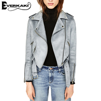 Everkaki Velvet Suede Women Basic Coats Slim Zipper Short Jacket Ladies Solid Autumn Jacket Streetwear Winter