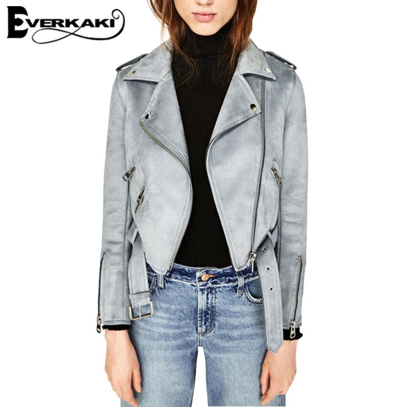 Everkaki Velvet Women Faux Leather suede basic Coats jacket Slim Zipper Short Ladies Solid Jacket streetwear Autumn Winter coats