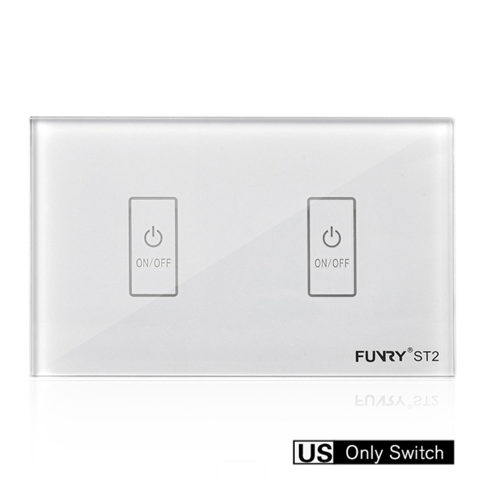 FUNRY ST2-2 Touch Switch Smart Wall Switch US Plug Crystal Glass Panel Luxury Panel Waterproof Surface 2 Gang Light Touch funry st2 us remote control touch switch 1 gang 1 way glass panel smart wall switch for home automation free shipping