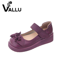2016 Retro Style Women Shoes Flats Platform Handmade Flower Genuine Leather Thick Heels Round Toe Women