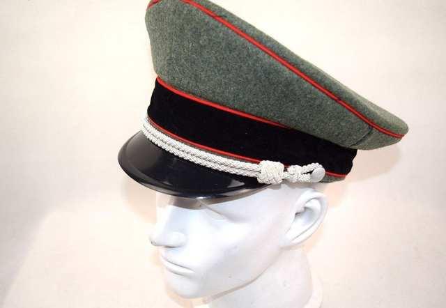 fc5bf3b29 WW2 WWII GERMAN ELITE OFFICER HAT WOOL VISOR CRUSHER CAP RED PIPE SIZE 57  58 59 60 cm