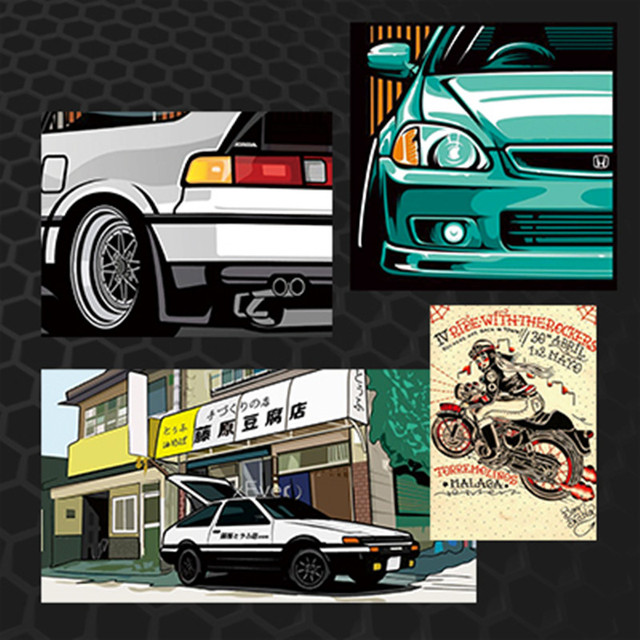 AE Japan Style Car Stickers Racing Girl Auto Window Motorcycle - Vinyl decals for motorcycle helmets