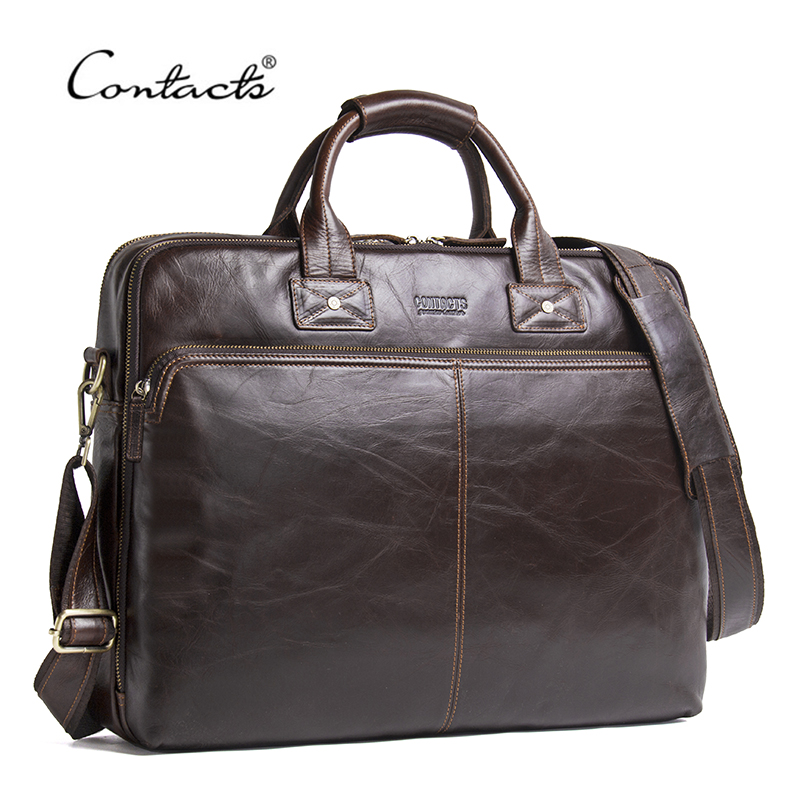 CONTACT'S Genuine Leather Men Bag Luxury Brand Shoulder Bags Male Messenger Bag New Business Handbag For 15.6' Laptop Briefcase