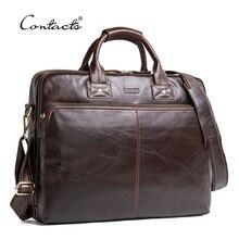 CONTACT'S Genuine Leather Men Bag Luxury Brand Shoulder Bags Male Messenger Bag