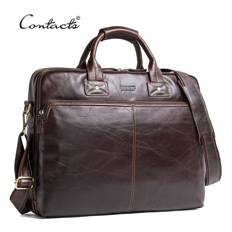 CONTACT'S véritable cuir hommes sac de luxe marque sacs à bandoulière mâle Messenger sac nouveau Business sac à main pour 15.6 'sacoche pour ordinateur portable