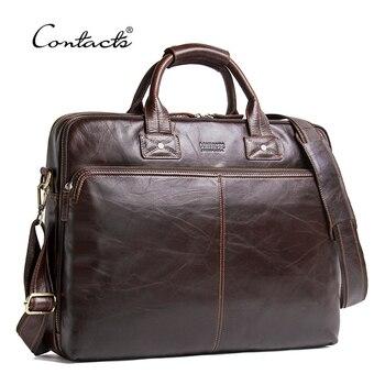 fd8bae35a6 CONTACT'S véritable cuir hommes sac de luxe marque sacs à bandoulière mâle  Messenger sac nouveau Business sac à main pour 15.6 'sacoche pour  ordinateur ...