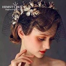 HIMSTORY Vintage Gold Leaf Headband Crown Blue Stones Wedding Bridal Hairwear Hair Accessory