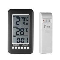 Trong/Ngoài Trời Kỹ Thuật Số Không Dây Nhiệt Kế thời tiết trạm Đồng Hồ LCD C/F Nhiệt Độ đo Meter điện tử đồng hồ bàn + Transmitter